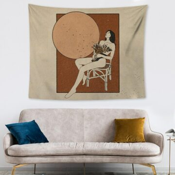 woman and moon tapestry