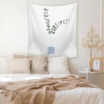 Nordic Floral Tropical Leaf Work Style Room Tapestry Wall Hanging Leaf Print Home Decor Carpet Polyester Room Tapestry Wall Cloth Decorative