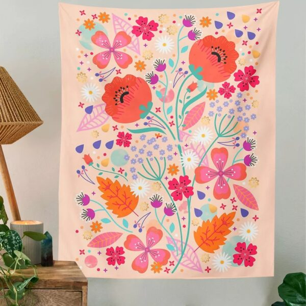 Botanical Wildflower Tapestry Wall Hanging Lush Flower Hippie Tapestry Boho Tapestries Wall Carpet Psychedelic INS Home Decor