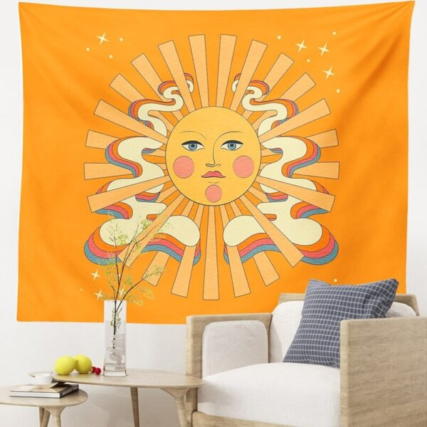 Vintage Hippie Background Cloth Sun Tapestry Wall Hanging 80S