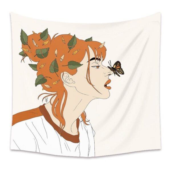 Personality Wall Tapestry Women Floral Butterfly Tapestry Wall Hanging# 10