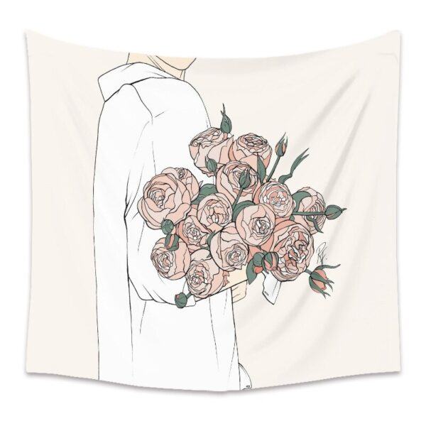 Personality Wall Tapestry Women Floral Butterfly Tapestry Wall Hanging