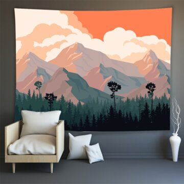 Hippie Wall Carpet Psychedelic Tapestry Forest Landscape Pattern# 5