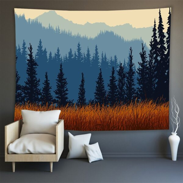 Hippie Wall Carpet Psychedelic Tapestry Forest Landscape Pattern# 1