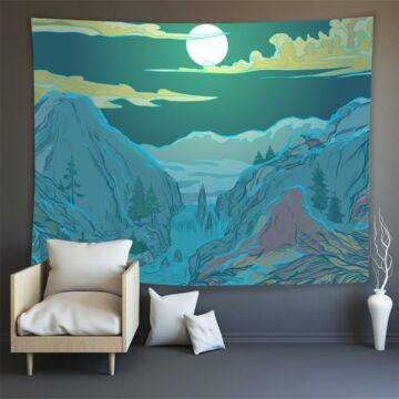 Hippie Wall Carpet Psychedelic Tapestry Forest Landscape Pattern# 6