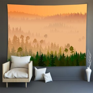 Hippie Wall Carpet Psychedelic Tapestry Forest Landscape Pattern#12