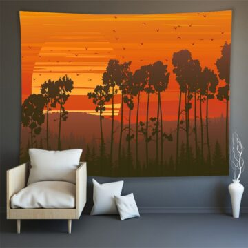 Hippie Wall Carpet Psychedelic Tapestry Forest Landscape Pattern#11