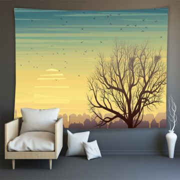 Hippie Wall Carpet Psychedelic Tapestry Forest Landscape Pattern#10