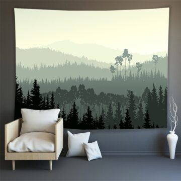 Hippie Wall Carpet Psychedelic Tapestry Forest Landscape Pattern#8
