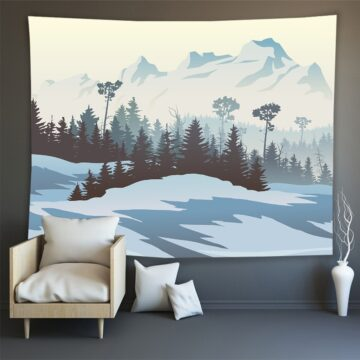 Hippie Wall Carpet Psychedelic Tapestry Forest Landscape Pattern
