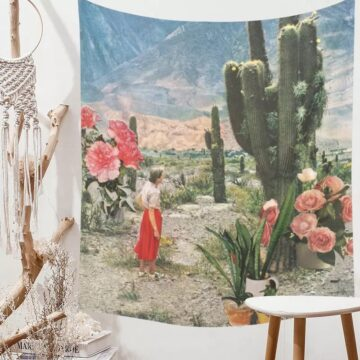 Tropical Plants Tapestry Wall Hanging Floral Bohemia Cactus Girls Tapestry Beach Towel Cushion Wall Tapestries Art Shawl Throw