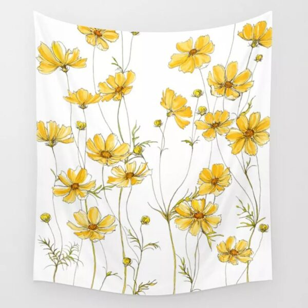 Retro Cosmos Flower Tapestry Wall Hanging Yellow Pink Tapestries Hippie Bohemian Wall Carpet Yoga Mats Home Decoration