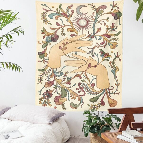 Psychedelic Sun Moon Tapestry Witchcraft Moon Life Tree Hippie Wall Hanging