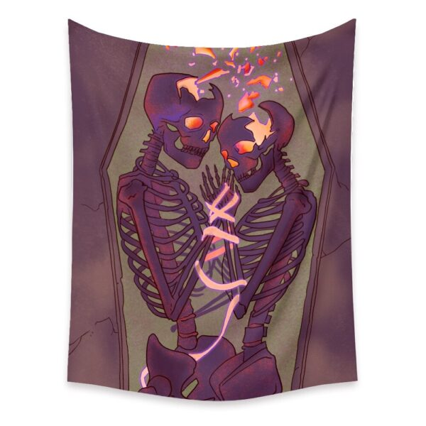 Skeleton Lovers Printed Tapestry Wall Hanging Nordic Home Living# 1