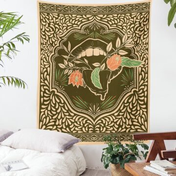 Witchcraft Tapestry Mandala Flower Plant Tapestry Flower Mouth