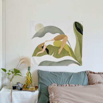 Summer Leaf Tapestry Wall Hanging Tropical Palm Leaves Plants