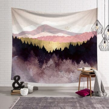 Mountain and forest Painting Tapestry Landscape Nordic Decoration Tapestry Wall Hanging Mountain