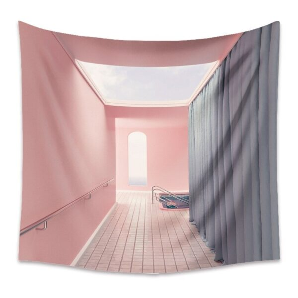 Pink Building Art Tapestry Painting Hanging Cloth Fresh Wall Pattern