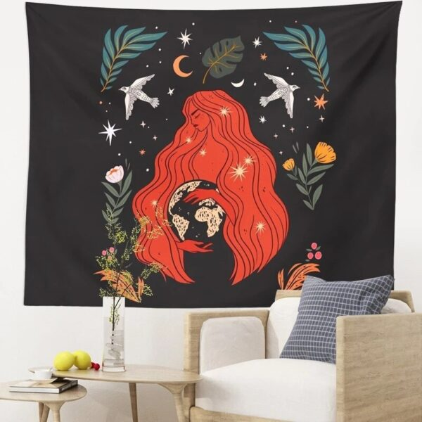 Witchcraft Tapestry Moon Phase Girl Tapestry Wall Hanging Decor Background Cloth Psychedelic Yoga Carpet Boho Decor Cloth