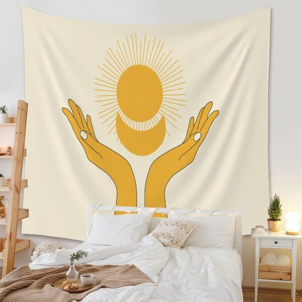 Yellow Sun and Moon Tapestry Home Decoration