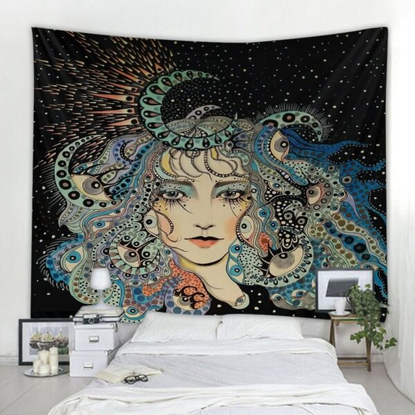 Woman Art Tapestry Psychedelic Illustrations Comics Wall Hanging