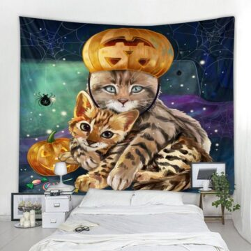 Psychedelic Cat Tapestry Animal Bohemian Tapestry Art Decor