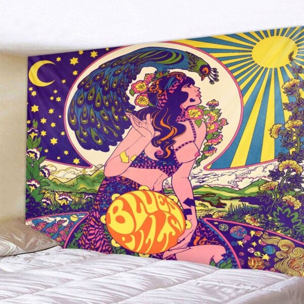 A Psychedelic Woman Stellar Sky Illustration Tapestry Colorful Retro Home Decor