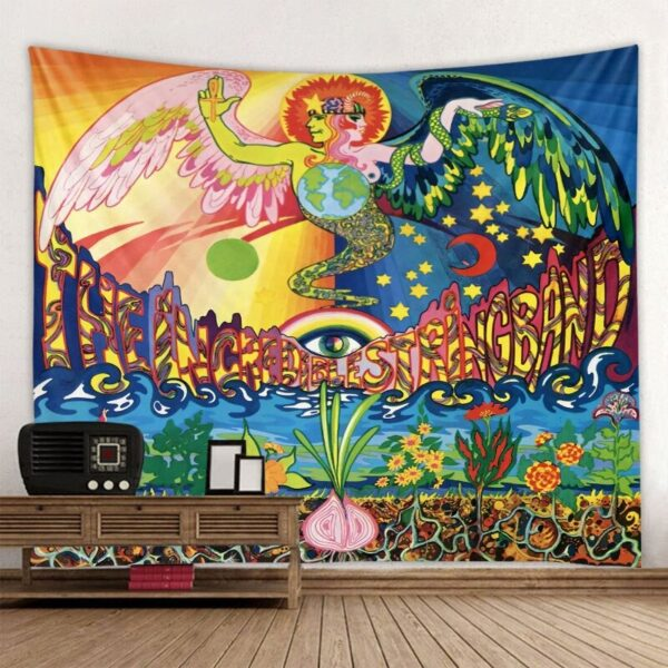 Good and Evil Illustration Tapestry Colorful Retro Home Decor