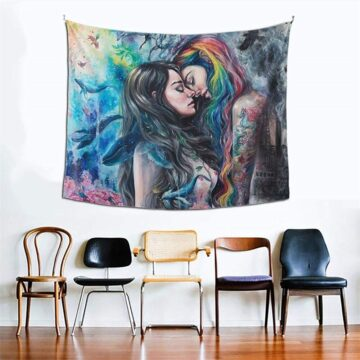 Lesbian Kissing Girllove Tapestry Hanging Love LGBT Pride Tapestries Gothic Girl
