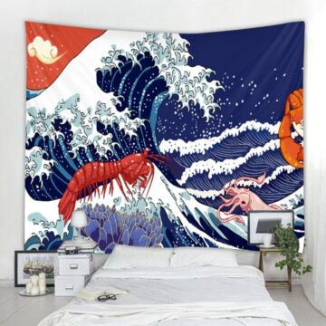 Japanese Waves Abstract Illustration Tapestry