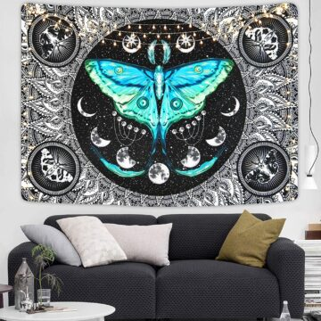 Moth Tapestry Moon Phase Tapestry Psychedelic Eyes Tapestry Moon Stars Tapestry