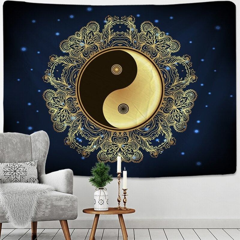 Moon Phase Moth Tapestry Wall Hanging Bohemian Style Witchcraft Psychedelic Dark Universe